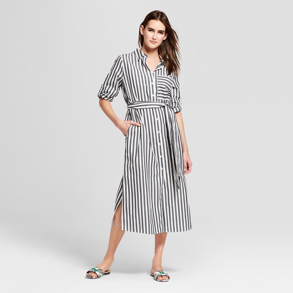 Women's Striped Long Sleeve Midi Shirtdress - Who What Wear Black/White XL, Black/White Stripe