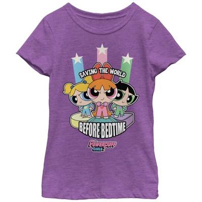 Girl's The Powerpuff Girls Saving the World Before Bedtime T-Shirt