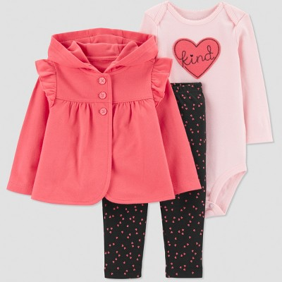 Baby Girls' 3pc Kind French Terry Cardigan Set - Pink/Black 3M