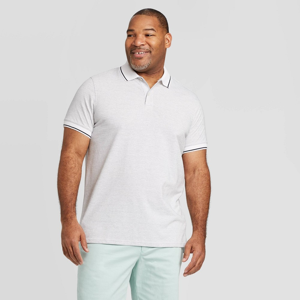 Image of Men's Big & Tall Jacquard Slim Fit Short Sleeve Polo Shirt - Goodfellow & Co White 3XB, Men's