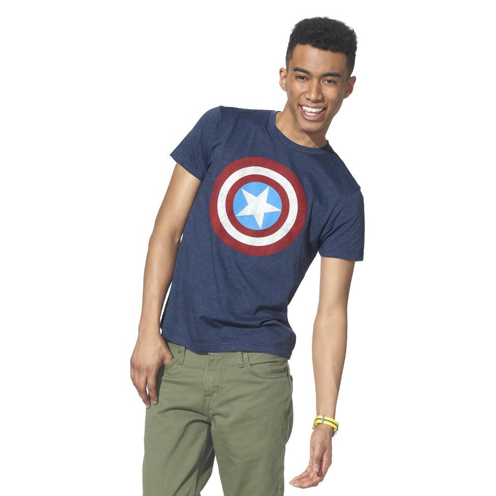 Men's Big & Tall Captain America T-Shirt Navy L Tall, Size: LT, Blue