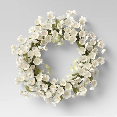 "21"" Artificial Cherry Blossom Wreath White - Threshold™"