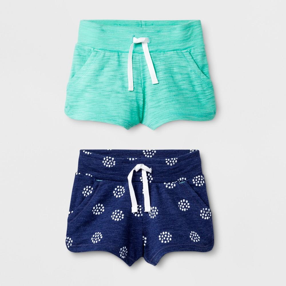 Toddler Girls' 2pk Shorts - Cat & Jack Navy/Green 12M