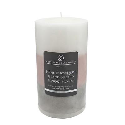 Layered Pillar Candle Jasmine Bouquet/Island Orchid/Hinoki Bonsai 7 x4  - Chesapeake Bay Candle