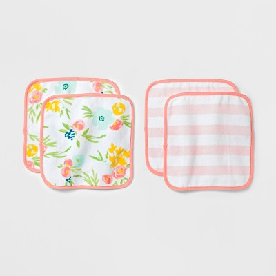 Baby Plush 4pk Washcloth Set Cloud Island™ - Pink/Coral