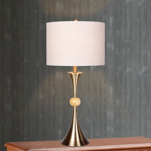 Trumpet Base Antique Brass Beige Marble Table Lamps Brass