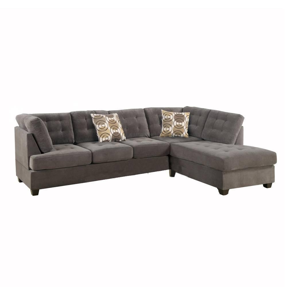 Image of 2pc Luxurious And Plush Corduroy Sectional Sofa Gray - Benzara