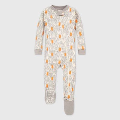 Burt's Bees Baby® Baby Boys' Organic Cotton Bears in the Forest Footed Pajama - Gray 12M