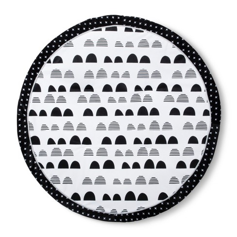 Round Activity Playmat Scallop - Cloud Island™ Black/White - image 1 of 2