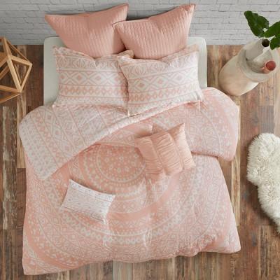 7pc Mica Cotton Reversible Duvet Cover Set (Full/Queen)Blush