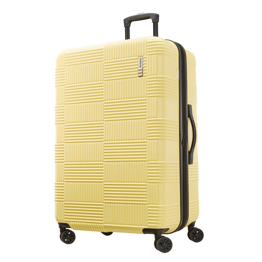 """Image of """"American Tourister 28"""""""" Checkered Hardside Spinner Suitcase - Yellow"""""""