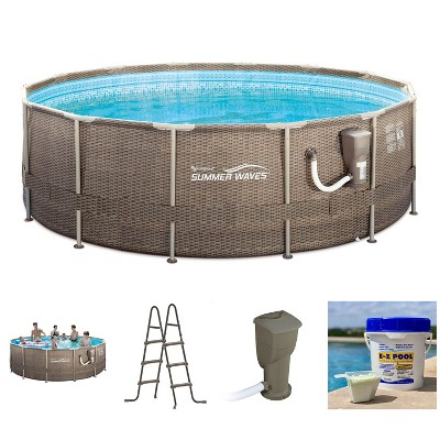 Summer Waves P20014482 14ft x 48in Round Frame Above Ground Swimming Pool Set with Skimmer Filter Pump, Cartridge, Solution Blend, and Ladder, Brown