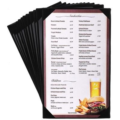 Black Restaurant Menu Cover Holders (12 Pack)