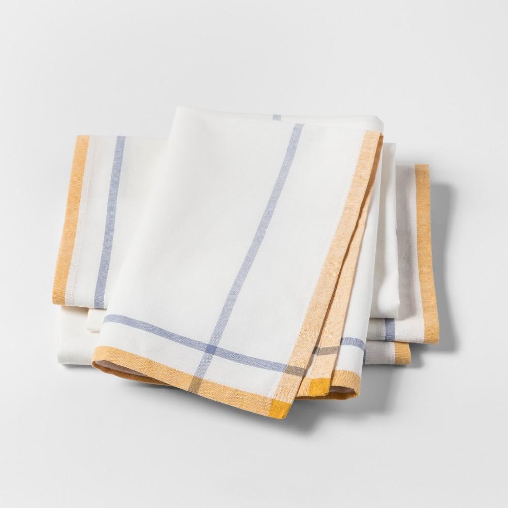 4pk Plaid Napkins Yellow - Threshold