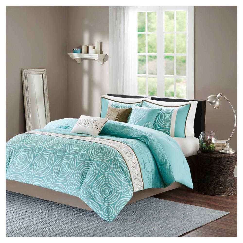 Petra Comforter Set (California King) Teal (Blue) - 7pc