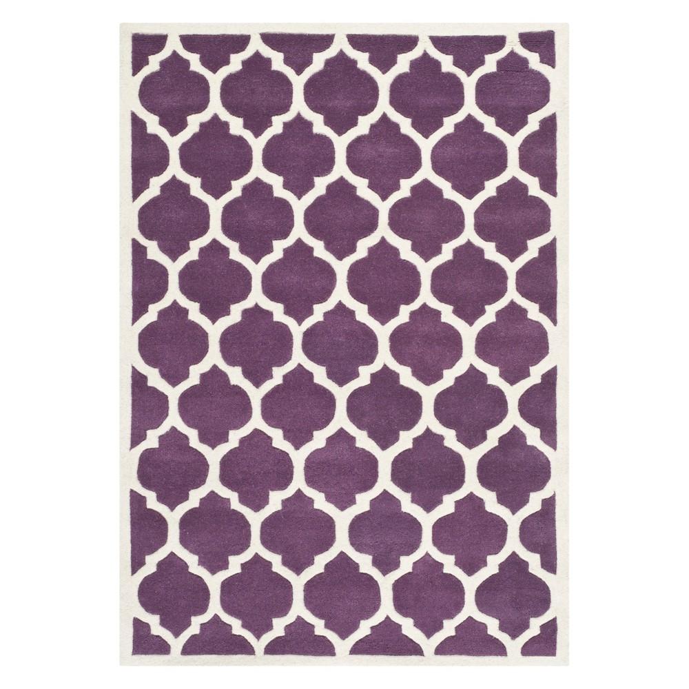 3 X5 Quatrefoil Design Tufted Accent Rug Purple Ivory Safavieh
