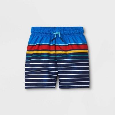 Toddler Boys' Striped Swim Trunks - Cat & Jack™ Blue/Yellow/Red