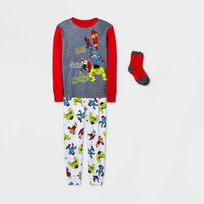 Boys' Marvel 2pc Pajama Set with Socks - Red/White - Disney Store