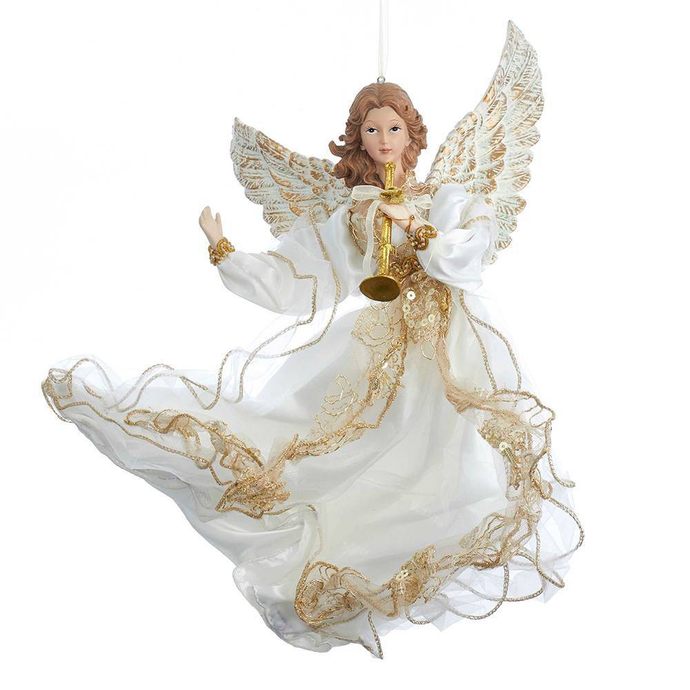 "Image of ""12"""" Kurt Adler Angel Christmas Ornament Ivory and Gold"""