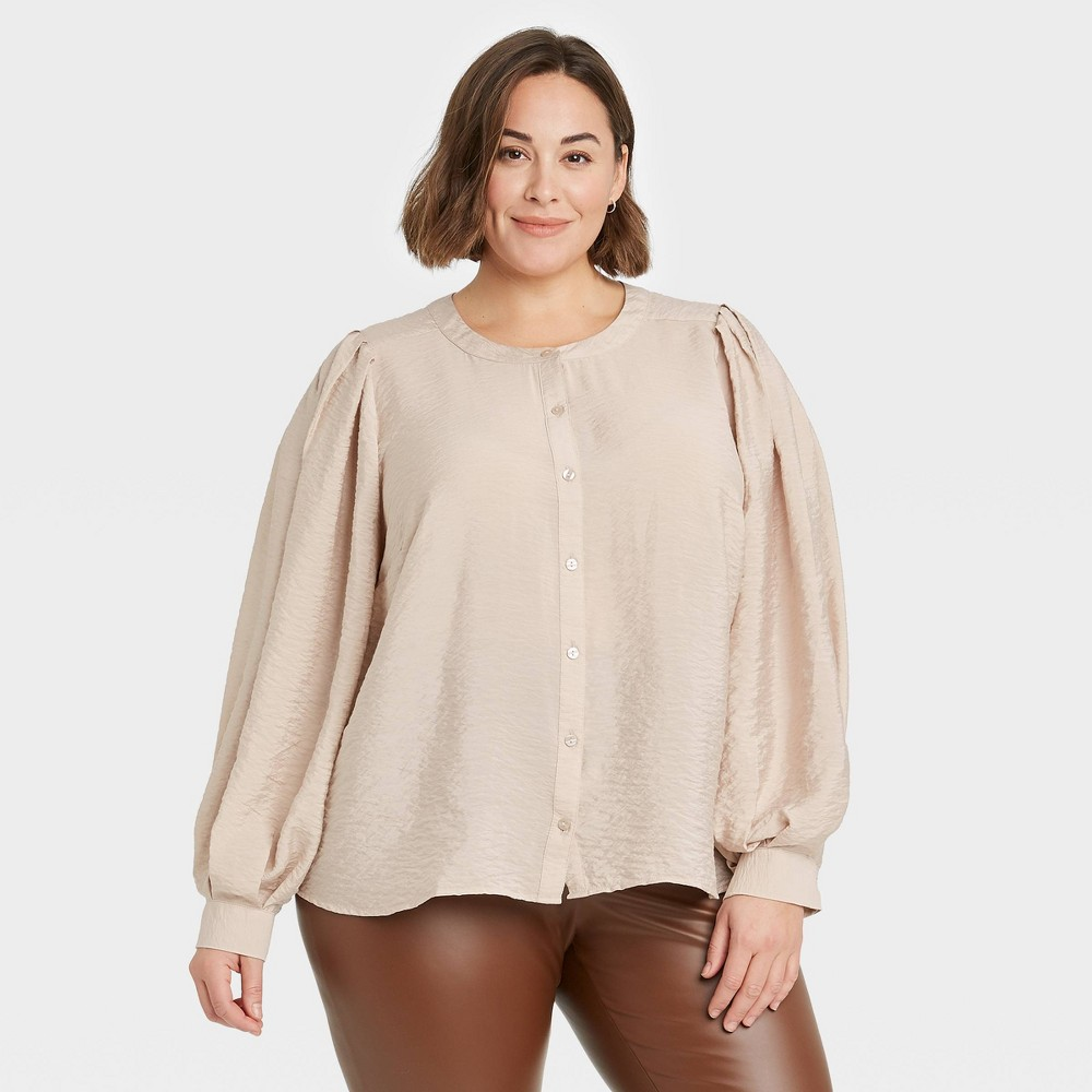 Women 39 S Plus Size Long Sleeve Button Down Femme Top A New Day 8482 Light Brown 1x