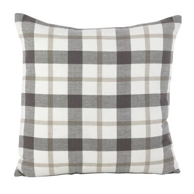 """20"""" Plaid Pillow Down Filled Gray - SARO Lifestyle"""