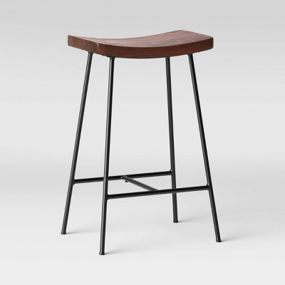 Arial Wood Saddle Seat with Metal Legs Counter Height Barstool Black - Threshold™