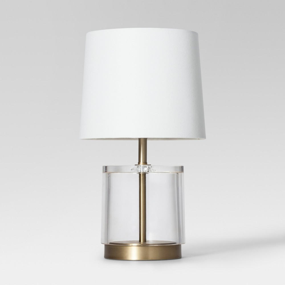 Modern Acrylic Accent Lamp Brass Includes Energy Efficient Light Bulb - Project 62, Clear Gold
