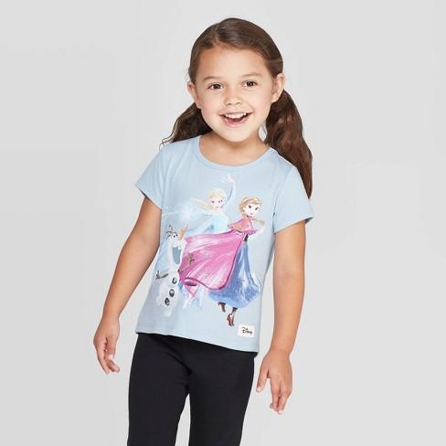 Girls' Disney Short Sleeve Elsa Sketchy Watercolor T-Shirt - Light Blue - Disney Store at Target Exclusive - image 1 of 3