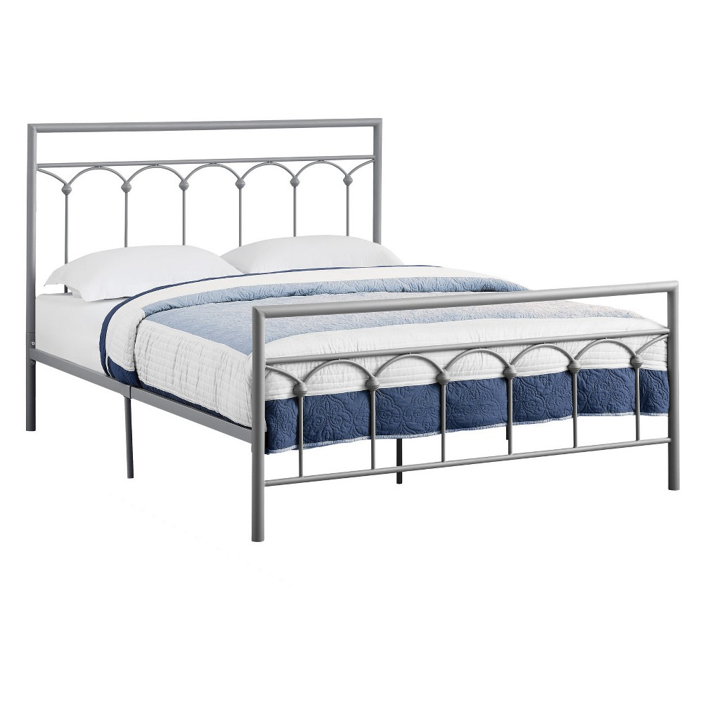 Queen Size Bed Metal Frame Only Silver - EveryRoom