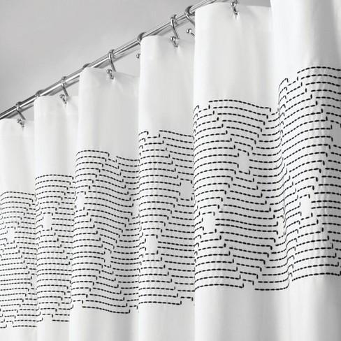 Mdesign Cotton Bathroom Shower Curtain Modern Print 72 X 72 White Black Target