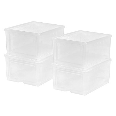 IRIS 4pk Wide Shoe Storage Boxes Plastic Stackable Shoe Organizer Bins Natural Clear