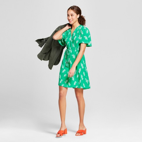 Women's Printed Tie Waist Crepe Dress - A New Day™ Green - image 1 of 3