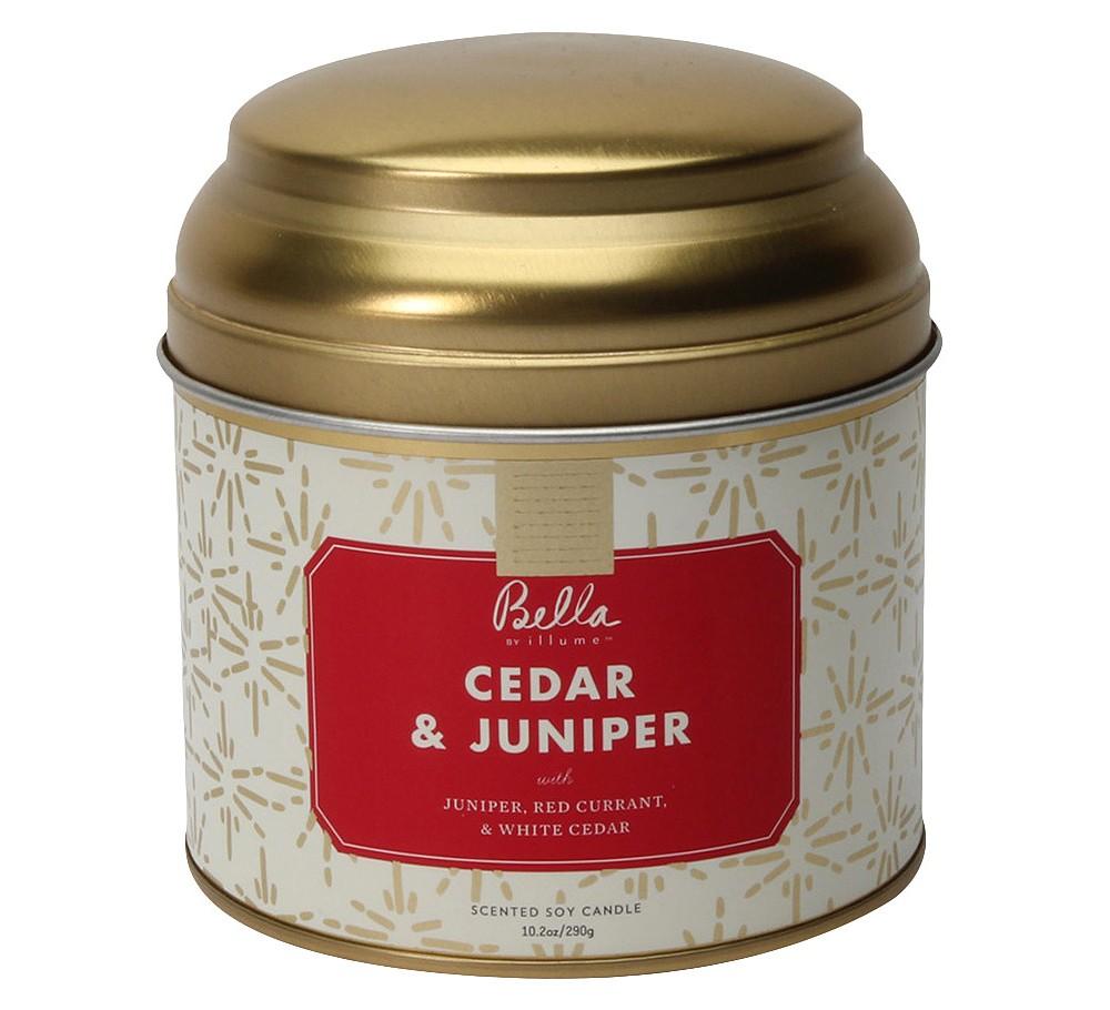 Image of 10.2oz Tea Tin Candle Cedar & Juniper - Bella by Illume, Red
