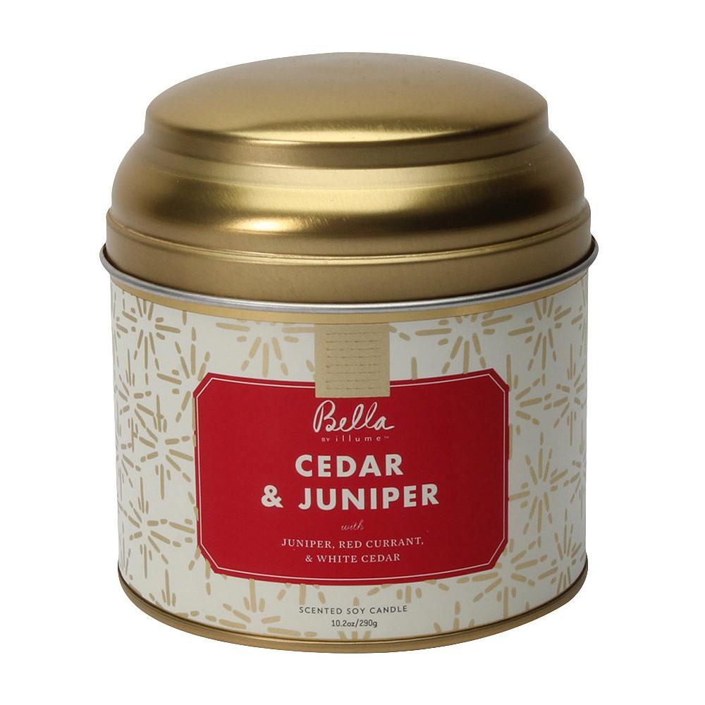 10.2oz Lidded Tin Jar Candle Cedar & Juniper - Bella By Illume, Red