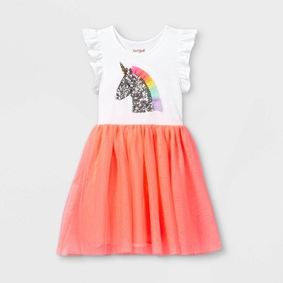 Girls' Unicorn Short Sleeve Tulle Dress - Cat & Jack™ Neon Peach