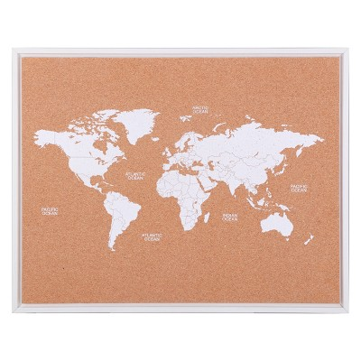 "19"" x 24"" Map Cork Board with 40 Push Pins - Threshold™"