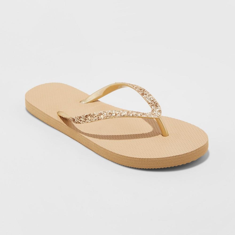 Women's Brynn Glitter Flip Flop - Shade & Shore Gold 8