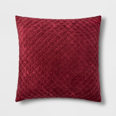 Hand-Quilted Velvet With Zipper Closure Oversize Square Throw Pillow Berry - Threshold™