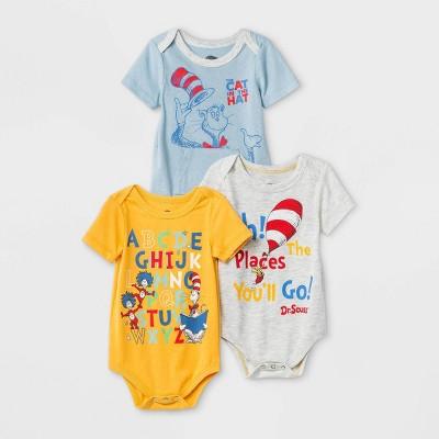 Baby Boys' 3pk Dr.Seuss Knit Short Sleeve Bodysuit - 12M