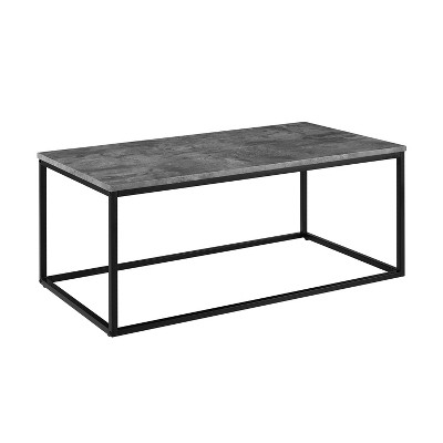 Urban Open Box Frame Coffee Table with Faux Concrete and Metal Dark Gray - Saracina Home