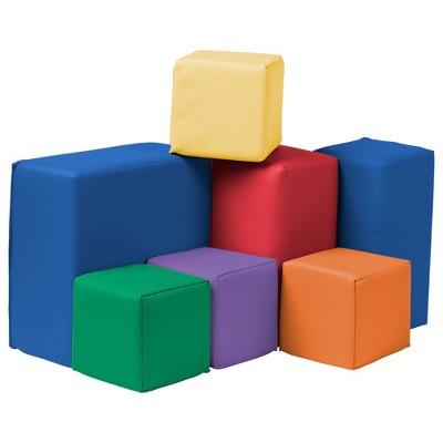 ECR4Kids Softzone Foam Toddler Building Blocks, Soft Play for Kids, 7pc Set