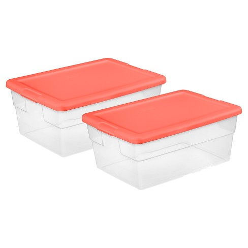 Sterilite® Set of 2 Storage Boxes -16Qt Transparent and Fresh Melon - image 1 of 1