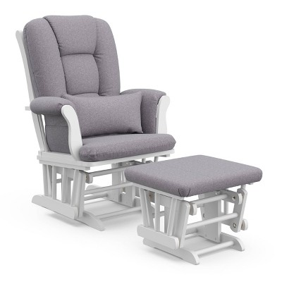 Storkcraft Tuscany White Glider and Ottoman - Slate Gray Swirl