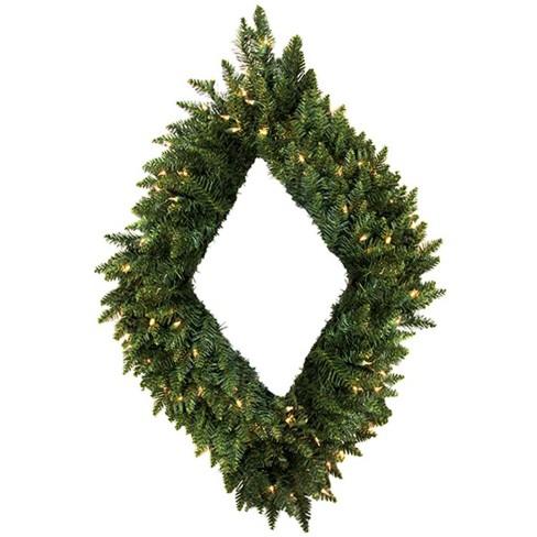 Vickerman 48 Prelit Led Camdon Fir Diamond Shaped Artificial Christmas Wreath Clear Lights Target