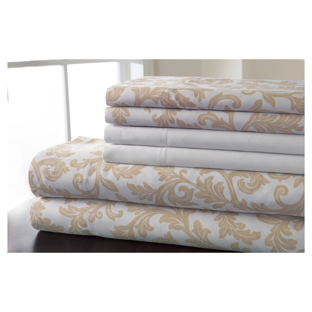 Full 6pc 600 Thread Count Kendall Print Cotton Sheet Set Taupe, Taupe Brown