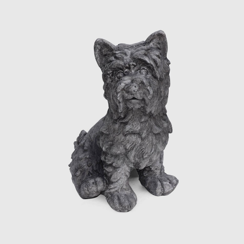 "Image of ""15"""" Cast Stone Cricket Terrier Dog Garden Statue Gray - Christopher Knight Home"""