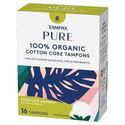 Tampax Pure 100% Organic Cotton Core Regular Absorbency Tampons - 16ct