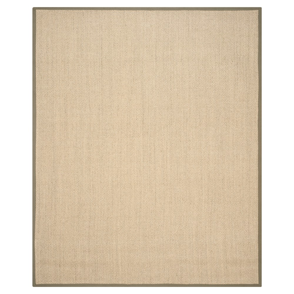 8'x10' Solid Woven Area Rug Natural/Green - Safavieh