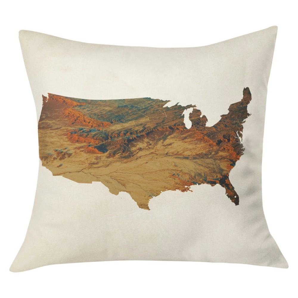 Tan Chelsea Victoria Wild West States Throw Pillow (20