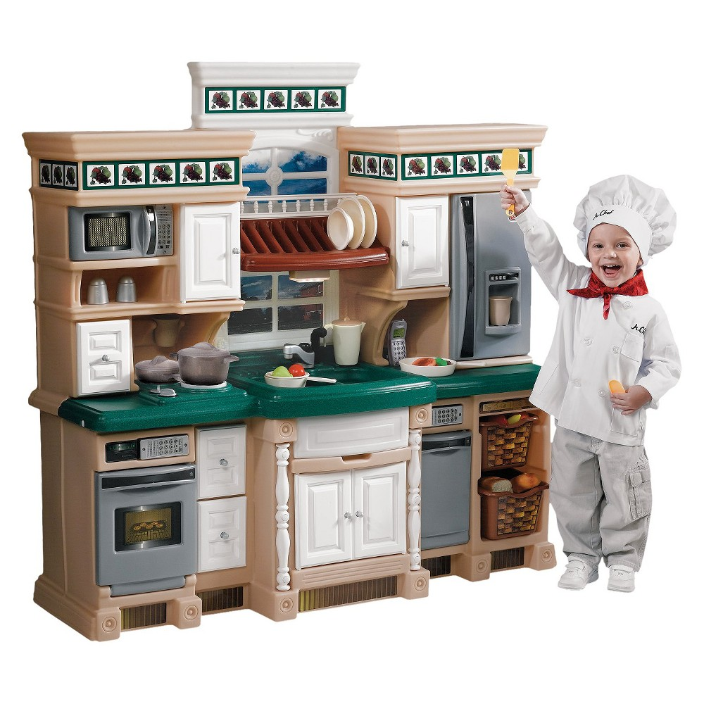 Step2 Lifestyle Deluxe Kitchen The Step 2 Lifestyle Deluxe Kitchen is designed to look just like a real kitchen. This playset has a granite-style countertop and a play sink with a pullout sprayer. Plus, the set has a framed window with a working overhead light. Paneled cabinets, drawers and 2 pullout baskets offer ample storage space. The kids play kitchen comes with faux-stainless appliances such as a stove, microwave oven and dishwasher. These appliances make cooking sounds to add to the fun. With 28 accessories and an electronic cordless telephone, the Step 2 play kitchen keeps your child happily occupied for hours. This playset encourages creative thinking, pretend play and imagination. For ages 2 and up. Gender: Unisex.